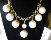 Napier Necklace Vintage Choker Milk Glass Balls Dangling Fruit Seed Gold Metal Chain Link Filigree 1950s Mid Century Modern Statement Piece
