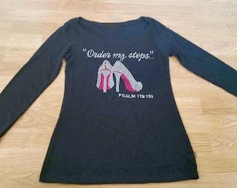 Order My Steps Rhinestone shirt. Ladies bible verse shirt. Christmas Shirt. Women's Bible verse t-shirts. Inspirational Christian shirt.