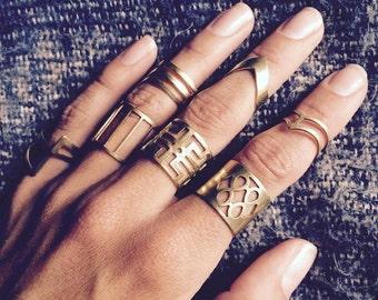Boho rings, brass, tribal, hippie rings, gold rings, antique brass rings, Brighton rings, bohemian, tattoo rings, midi rings, adjustable