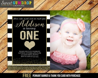 Black, White and Gold Birthday Invitation - Printable - FREE pennant banner and thank you card with purchase