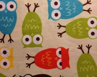 URBAN ZOOLOGIE By Ann Kelle - Fabric - OWLS in Bermuda - Robert Kaufman - Owl - Nursery - Baby - Hoot - Quilting - Sewing - Woods