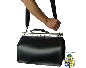 Shoulder bag VON BINGEN black leather - made in Germany