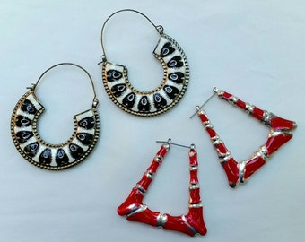 2 Pairs of Large Silver Tone with Enamel Earrings circa 1980s