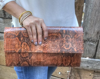 genuine snakeskin clutch