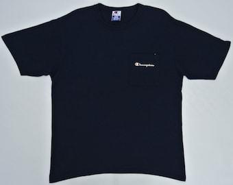 Champion Shirt Man Large Vintage Champion T Shirt Navy Blue T Made in USA