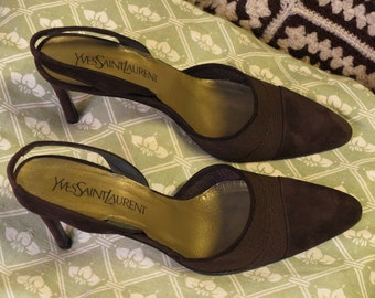 YVES SAINT LAURENT shoes in brown suede heel