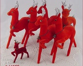 Vintage Red Flocked Reindeer All for One Money but Please Read Description Before Purchasing (Inventory #CH1552)