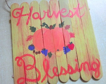 Harvest blessing handmade painted wooden sign, pagan wall decor, wiccan home decor