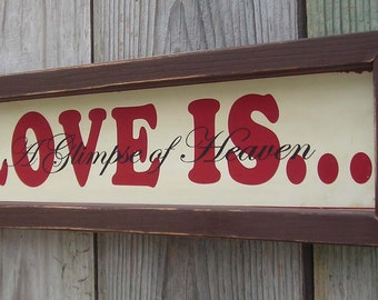 Reproduction Tin Sign, LOVE A Glimpse of Heaven, Wood Framed, 17 by 5 inches., Free Shipping