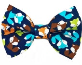 Dog Bow Tie, Dog Bow, Summer Foxes (Navy Blue, Green, Orange, White, Aqua Blue), Removable Style Accessory for Pet Collar