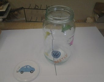 Hand painted Volkswagen bug jar