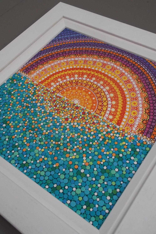 moroccan sunset original acrylic dot painting 35 x 36cm