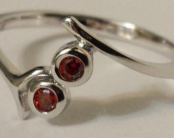 Adjustable Garnet CZ toe Ring - .925 Sterling Silver - Toe Ring or knuckle ring