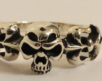 Sterling Silver Skull ring, statement ring