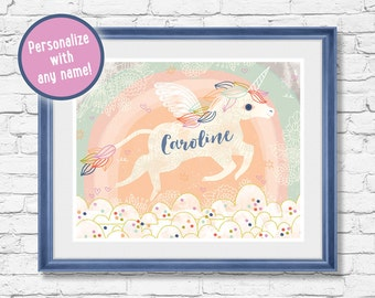 Unicorn Art Print - Personalize with a custom name