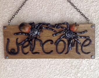 Spiders Halloween Welcome sign