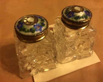 Vintage, Crystal And Pearl Enlay Top, Salt/Pepper Shakers, Mint Condition, England