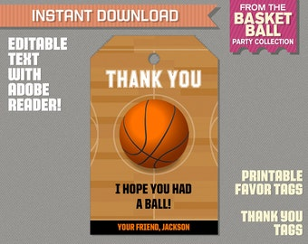 Basketball Party Favor Tag / Basketball Thank you Tag - Basketball Birthday - Basketball Party - Edit and print at home with Adobe Reader