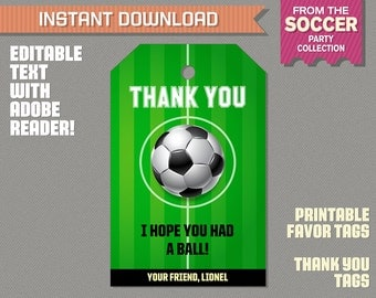 Soccer Party Favor Tag / Soccer Thank you Tag - Soccer Birthday - Soccer Party - Edit and print at home with Adobe Reader