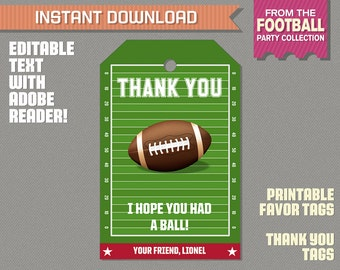 Football Party Favor Tag / Football Thank you Tag - Football Birthday - Football Party - Edit and print at home with Adobe Reader