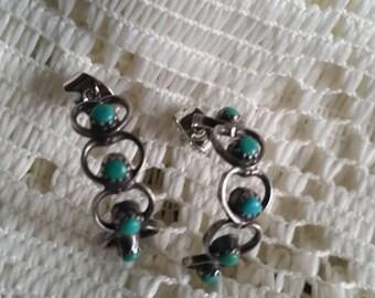 Vintage Silver Tone Turquoise Heart Earrings