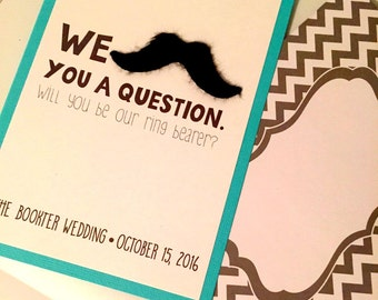 """We """"Mustache"""" You to be Our Ring Bearer Card"""