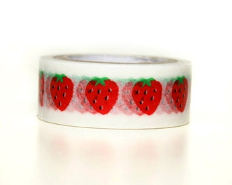 Washi Tape - Big Strawberry - no.244 // 15mm x 5m