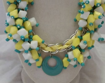 Yellow and White Necklace White and Yellow Necklace Statement Necklace Bib Necklace Chunky Necklace One Of A Kind Necklace SByourself Shop