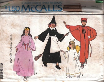 Vintage McCall's Carefree Children's Princess Angel Witch Devil Costume Pattern 5238 Size 2-4 Chest 21-23 circa 1976