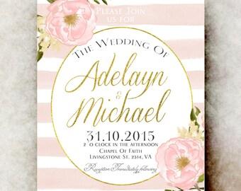 Rustic Wedding Invitation - Barn wedding Invitation, country Wedding Invitation, Printable wedding Invitation, blush pink wedding invitation