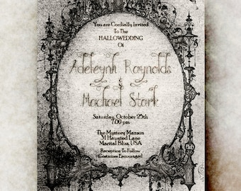 Halloween wedding invitation printable - Hallowedding invitation, adult halloween invitation, halloween party invitation