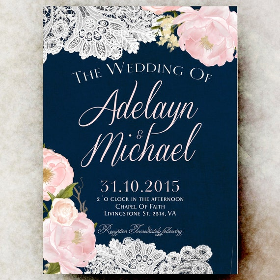 Navy Blue Wedding Invitation Rustic Wedding By
