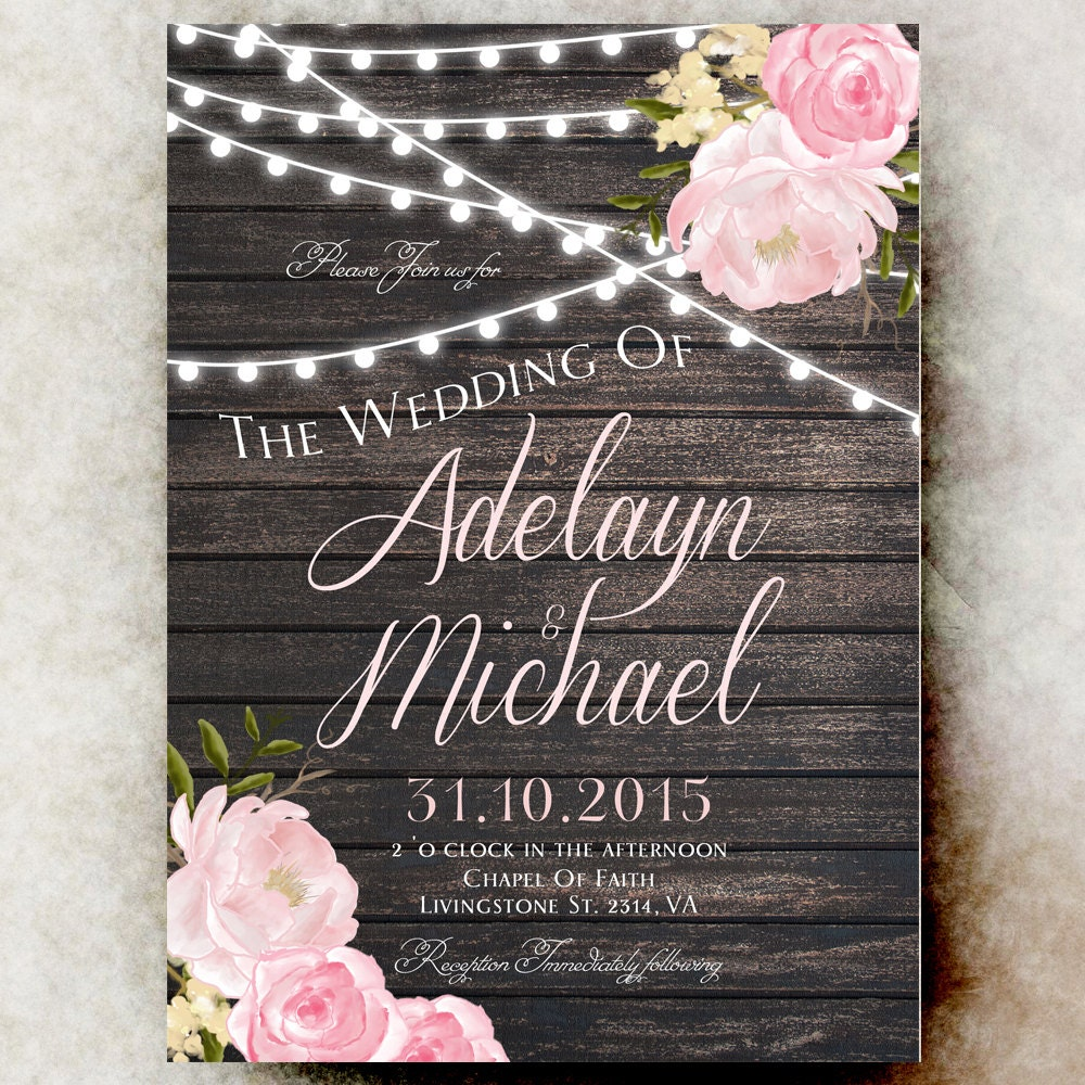 When Do I Send Out Wedding Invites: Rustic Wedding Invitation Printable String By