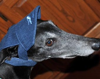 Greyhound Embroidered Hat / Cap Handmade from Recycled Denim Jeans Upcycled & Eco-Friendly for your Greyhound / Sight Hound - Various Colors