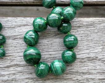 Malachite Necklace with Barrel Clasp