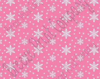 Pink snowflake craft  vinyl sheet - HTV or Adhesive Vinyl -  medium pink winter pattern holiday HTV1311
