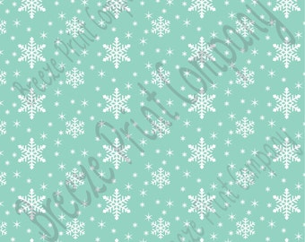 Mint snowflake craft  vinyl sheet - HTV or Adhesive Vinyl -  winter pattern holiday HTV1312