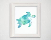 Sea Turtle Art Print, Nautical Home Decor, Beach Art Print, Nursery Art Print, Watercolor Turtle, Turtle Painting, Archival Print