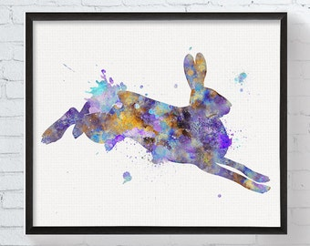 Watercolor Hare, Hare Art Print, Running Hare, Hare Painting, Hare Illustration, Hare Poster, Watercolor Animal, Animal Painting, Animal Art