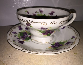 Norcrest Sweet Violet Tea Cup And Saucer