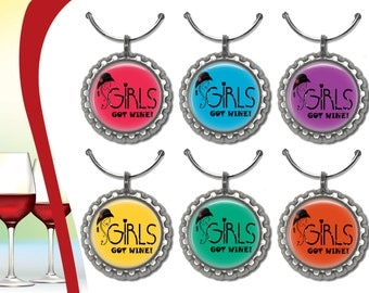 6 Girls Got Wine glass Charms
