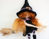 Needle felted witch girl broomstick decoration