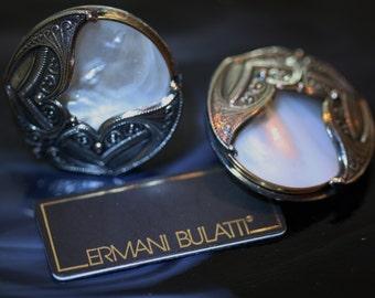 Elegant MOP and Silvertone Vintage Earrings from Ermani Bulatti