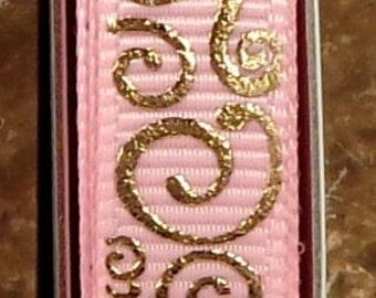 "2 Yards 3/8""  Pink with Gold Foil Scroll - Swirl Print - U.S. Designer"
