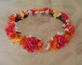 Flower Girl Crown Pink, Orange, White, Yellow