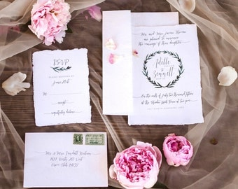 Elegant Wreath Invitation suite