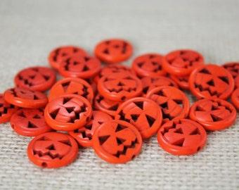 Orange Howlite 14mm Pumpkins Jack-O-Lantern Beads (20 Pieces)