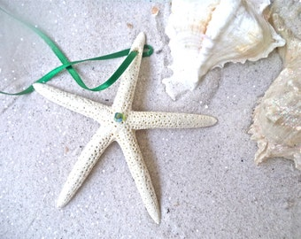 Starfish Ornament - Peridot Crystal Starfish ornament with a bit of diamond dust & Swarovski light peridot crystal.  Set of 5