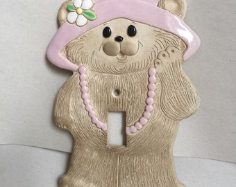 Vintage Bear ceramic switch plate covering girls room decor