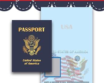 Play Passport United States - Instant Download Printable Digital PDF JPG File